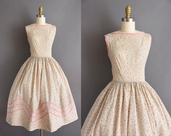 vintage 1950s pink and yellow floral cotton full skirt dress Small 50s summer sun dress with floral print
