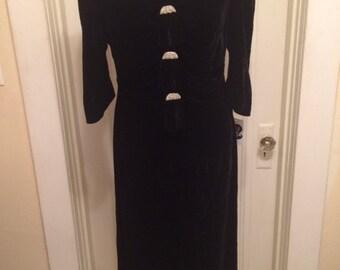 Vintage Black Velvet Gown