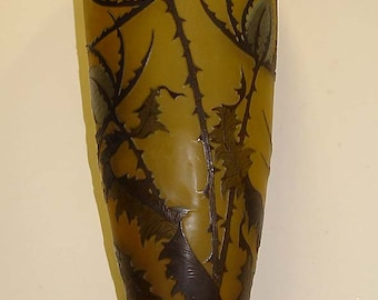Authentic Large French Galle Cameo Art Glass Thistle Flower Vase