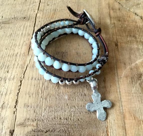 Bohemian, Beachy, Boho, Pale Blue Amazonite, Leather, Sterling Silver, Wrap Bracelet