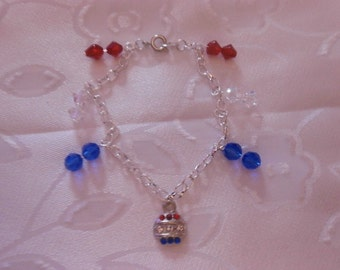 SALE!! Handmade, Silver Charm Bracelet Made With Swarovski Beads and Swarovski Rhinestones, 4th of July, July 4th, Holiday