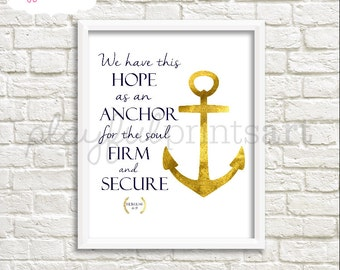 Hebrews 6:19 Verse Print, 8x10, Instant Download