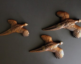 Vintage Plaster Chalkware Pheasant Wall Plaque Set Of 3 Mid Century Chalkware Home Decor