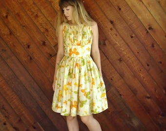 Yellow Floral Printed Silk Tea Dress - 50s Vintage - SMALL