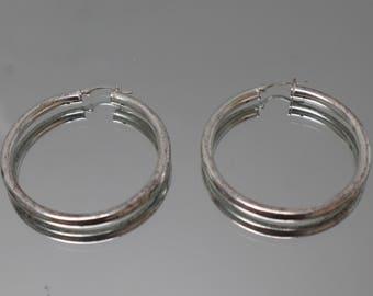 925 - Vintage Sterling Silver Large Hoop Earrings