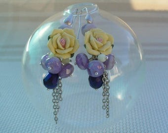Purple, violet and Daffodil earrings