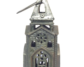 Vintage Cast Iron Church Steeple Candle Holder