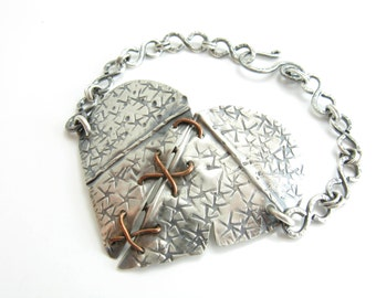 Sterling Silver Stitched Heart Bracelet Statement Bracelet Bold Heart Jewelry Handmade Metal Jewelry BooBeads
