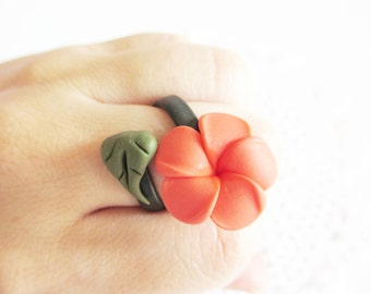 Orange Plumeria Ring, Polymer Clay Ring, Adjustable Ring, Flower, Handmade Jewelry, Flower Jewelry, Orange Flower, Orange Plumeria