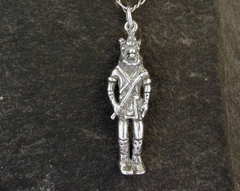 Sterling Silver  Wolf Dancer Kachina Pendant on a Sterling Silver Chain.
