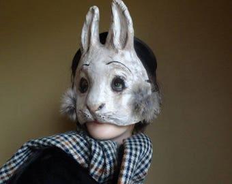 Rabbit mask Halloween masks Paper mache, papier mache animal mask Rabbit Bunny Hare mask - Friday I am in Love