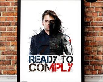 Winter Soldier Bucky Barnes Art Print, Marvel Superhero Inspired, Quote, Avengers Art, Civil War, Steve Rogers, Stucky, Ready to Comply