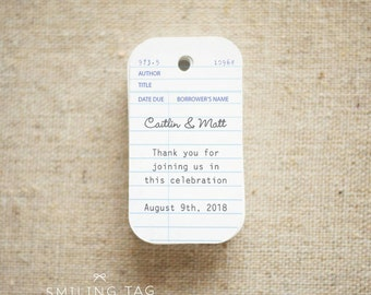 Wedding Favor Tags - Vintage Library Card Inspired Gift Tags - Thank you tags - Hang tags - Set of 30 (Item code: J234)