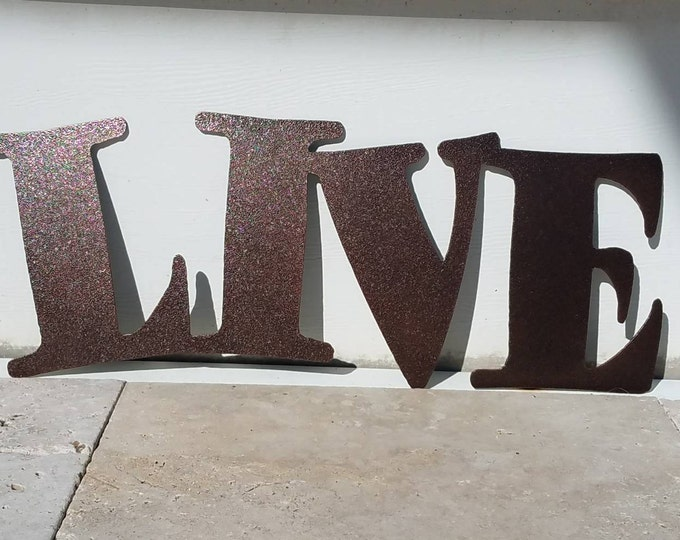 Featured listing image: Metal Live Sign - Metal Letters - Metal Wall Art - Live Laugh Love - Outdoor Decor - Home Decor - Word Art - Quote Set - Wall Art Metal