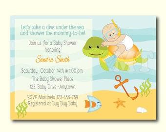 Nautical baby shower invitation aqua and blue nautical baby custom under the sea baby shower invite ocean theme baby shower invitation beach baby filmwisefo