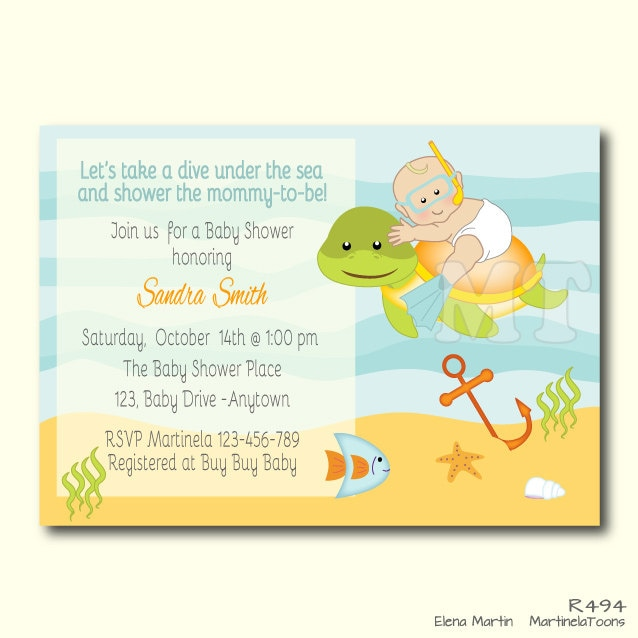 Finest Custom Under The Sea Baby Shower Invite Ocean Theme Baby SR01