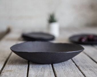 Ceramic Black bowl, Decorative Bowl, Serving Bowl, Wabi Sabi Bowl, Black Porcelain Bowl, Fruit Bowl, Stoneware Bowl, Housewarming gift