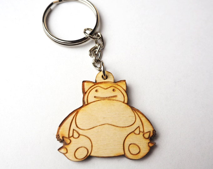 Ditto Face Snorlax Keychain | Laser Cut Jewelry | Wood Accessories | Wood Keychain