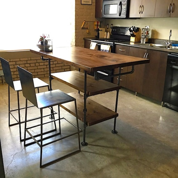 Industrial Pipe And Wood Kitchen Island Steel And Wood
