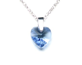 Light blue crystal heart necklace, Swarovski crystal pendant, sterling silver bail, sterling silver chain, sterling silver clasp