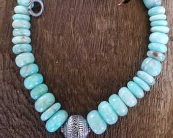 Amazing Amazonite Necklace.Gem Quality.Bohemian. Chunky. Graduated. Beads are Disc Shapped and Graduated.Statement Piece, Heavy