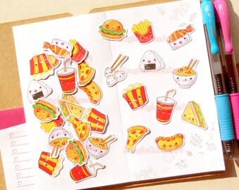 Food Stickers, Planner Stickers, Sushi Stickers, Pizza Stickers, Kawaii Sticker, Erin Condren Sticker, Functional Stickers, Grocery Sticker