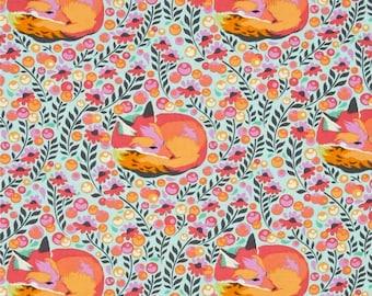 Tula Pink Chipper, Fox Nap in Sorbet, Tula Pink Fox Fabric, Fox Quilting Fabric, Blue Woodland Creature Fabric, Turquoise, Aqua, Orange