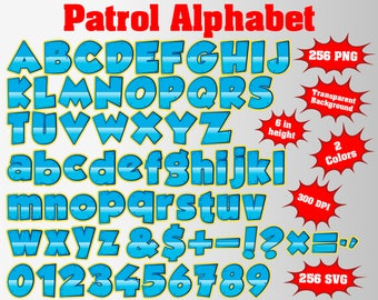 Paw Full Patrol Alphabet, Numbers and Symbols | 512 PNG/SVG | 300 dpi | Transparent Background | Blue/Pink Colors, Patrol Birthday Paw Party