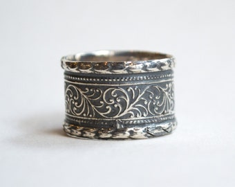 Oxidised Silver wedding band, vine band, unisex wedding band, mens and womens ring, gypsy ring, wide bohemian ring, boho  - Believe R1741