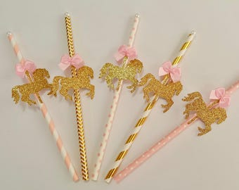 Carousel Horse Paper Straws, Party Decorations, Birthday, Pink and Gold Decor, Carousel Cupcake Toppers, Drinking Straws, Tableware 10 pc