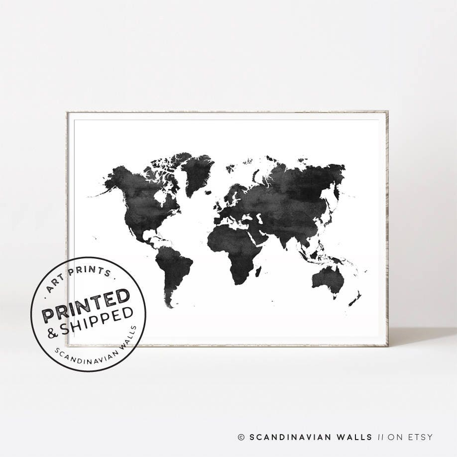 World map world map print world map poster black and white zoom gumiabroncs Gallery