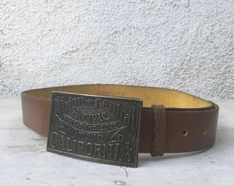 Vintage Union Central Pacific Railroad California leather belt