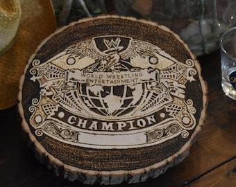 WWE Undisputed Championship Artist Tribute/Homage Bass Wood Woodburning WWF