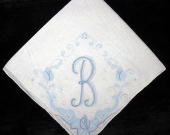 Initial Handkerchief Blue Letter Initial Embroidery Something Old Wedding, B E I K M D G H A or L