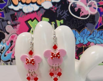 Minnie Mouse Pink With Red Polka Dot Bow Dangle Earrings