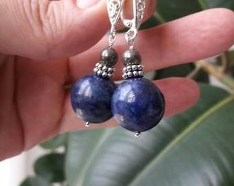 Lapis lazuli earrings Beads of lapis lazuli 15 mm Gift for her beautiful earrings of lapis lazuli pyrite earrings sterling silver