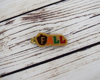 Handcrafted Fall Feltie Clip - Acorn Feltie CLip - Small Hair Clip - Fall Baby Girl Bow - Autumn Infant Girl - Red Orange Gold Brown - Baby