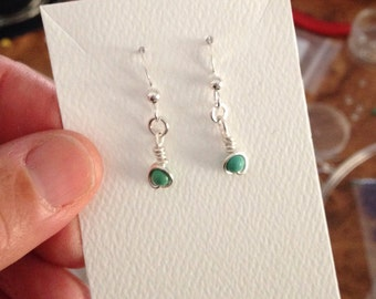 Real Turquoise and Silver Dangle Earrings