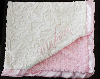 Embroidered Minky Blanket, Custom blanket, blanket with name, gift for baby, baby boy, baby girl, Pink blanket, pink and cream, baby gift