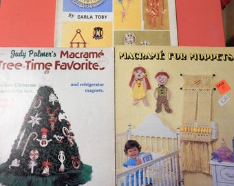 Three vintage macrame instruction books - Knots For Tots, Tree-Time Favorites and Macrame For Moppets