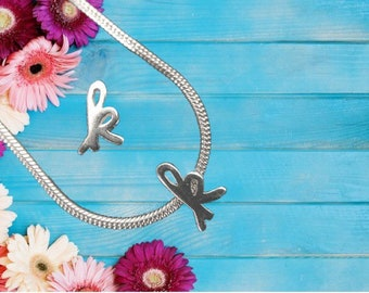 Lowercase 'k' Sterling Silver Charm Necklace With Gift Box
