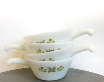 Set of four vintage anchor hocking 'fire-king' bowls with handles and green flower pattern - green medow pattern'