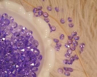 Purple Faux Diamonds - 1000 MICRO Tiny Plastic -Winter Wedding Confetti - Solitare Faux Diamonds - Table Decoration - Vase Filler