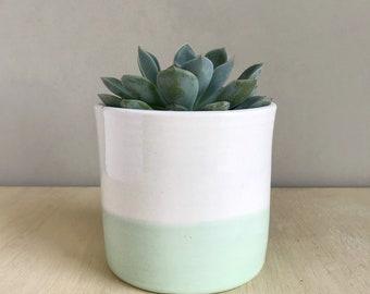 Desk Planter, Mint Decor, Succulent Pot, Drainage Hole, Ceramic Container, Coworker Gift, Hostess Present, Modern Minimal, Cactus Vessel