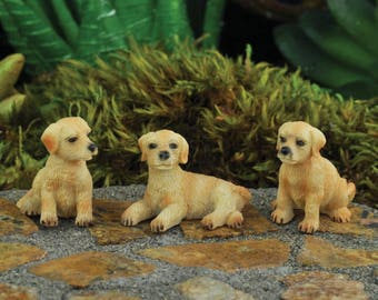 Dollhouse Miniature Fairy Garden Diorama Set of (3) Dogs 1:12 Scale