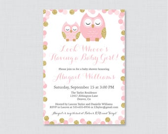 Owl baby shower invitation etsy owl baby shower invitation printable or printed pink and gold owl themed baby shower invites pink glitter owl baby shower invite 0069 g filmwisefo