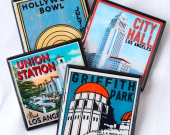 Los Angeles Coasters, California Decor, Wood Drink Coaster Set, Retro LA Decor, Los Angeles Art, Old Hollywood, housewarming gift, set of 4