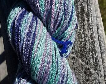 Handspun Wool Yarn Purples and Greens