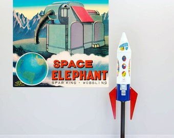 Space Elephant Robot Tin Toy Wall Decal - #55086