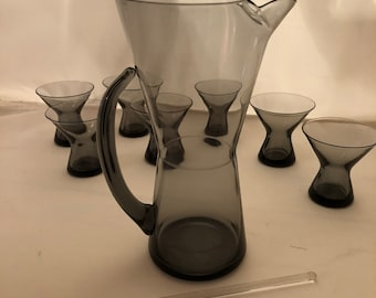 Vintage Mid Century Modern Morgantown Normandy Smoke Gray Martini Set